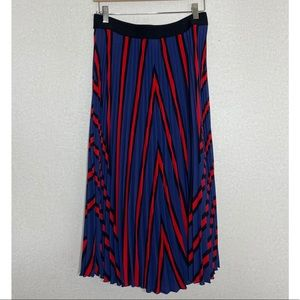 🌿 H&M Pleated Midi Skirt EUC sz M Blue Black Red